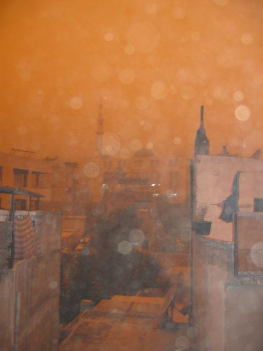 View of the sandstorm from our roof